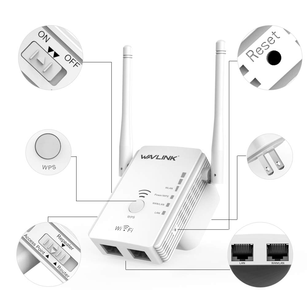 WAVLINK WIFI Booster with Wps Internet Signal Repeater Wireless Extender Booster Up to 300Mbps Plug and Play Work with Any Router