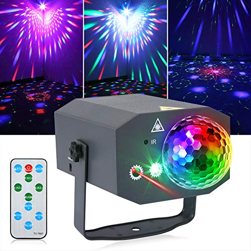 Litake Party Lights + Disco Ball 2 in 1 Dj Disco Stage Lights LED Projector Strobe Light, Sound Activated with Remote for Party Birthday Wedding Dance Club Holiday Show Home Karaoke Decor