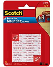Scotch Removable Mounting Squares, Black, 64-Pack (108-SML-ESF)