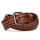 Tanpie Fashion Men's Braided Belt Leather Strap for Jeans Brown L
