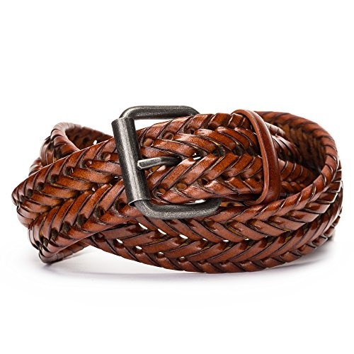 Tanpie Fashion Men's Braided Belt Leather Strap for Jeans Brown (Hand Woven Leather)