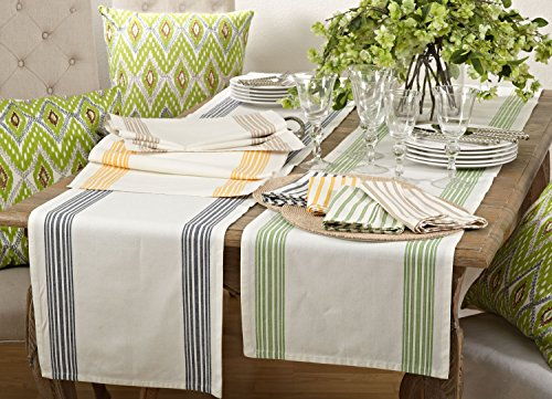 Fennco Styles Multi Ligne Printed Striped Design Table Runner - 4 Colors - 16'' X 72'' (Navy Blue) by fenncostyles.com (Image #1)