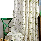 VOGOL 2 Panels Ultra Decor Vines Embroidered Faux Linen Grommet Curtains for Living Room,Energy Efficient Window Treatment Panels,52 x 63 Inch, Grass Green