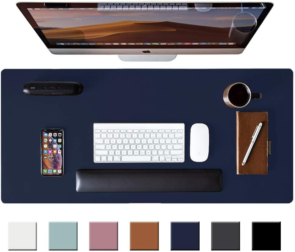 "Leather Desk Pad Protector,Mouse Pad,Office Desk Mat,Non-Slip PU Leather Desk Blotter,Laptop Desk Pad,Waterproof Desk Writing Pad for Office and Home(Dark Blue,31.5"" x 15.7"")"