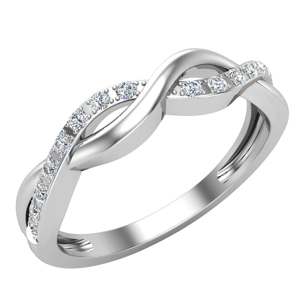 0.20 ct tw Intertwined Diamond Anniversary Band 14K White Gold (Ring Size 5.5)