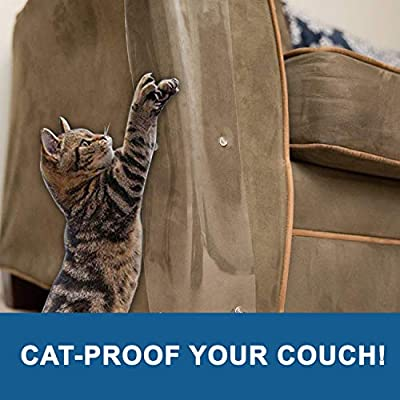 Cat scratching Set Of 2 Cat Couch Plastic Protectors By Easyology Pets: Extra... [tag]