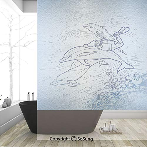 (3D Decorative Privacy Window Films,Sketch of Scuba Diver Holding Fin of Dolphin over Coral Reefs Fish Underwater,No-Glue Self Static Cling Glass film for Home Bedroom Bathroom Kitchen Office 36x48 Inc)
