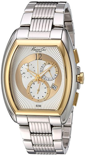 Kenneth Cole New York Men's KC9165 Classic Yellow Gold Bezel Barrel Case ()