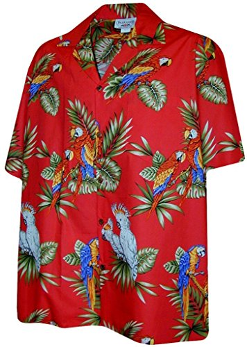 Parrots Hawaiian Shirt, Red (L)