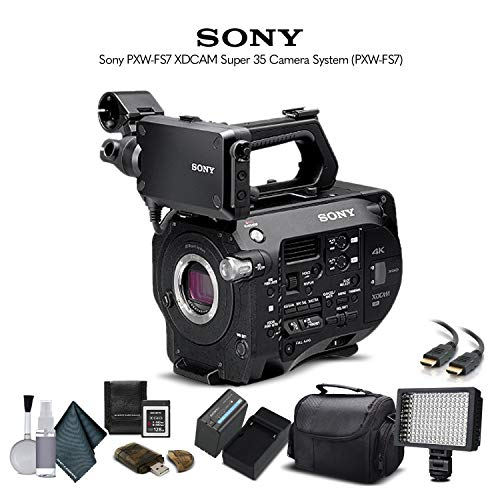 Sony PXW-FS7 XDCAM Super 35 Camera System (PXW-FS7) with 64GB Memory Card, Extra Battery, LED Light, Case, and More - Advanced Bundle