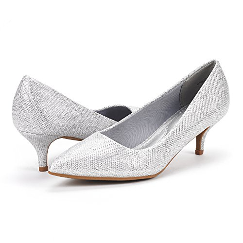Low Shoes Glitter PAIRS DREAM Moda Silver D'Orsay Heel Toe Pointed Women's Pump qgxwPzH