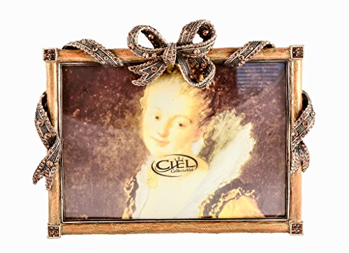 Ciel Collectables Antique Metal Design Bowtique Picture Frame with Hand Set Topaz Swarovski Crystal, Hand Painted Yellow Enamel Over Solid Pewter Base, Antique Silver Plating, Back Of Frame Made with Stylish Metal, Holds 5 x 7 Inch Pictures