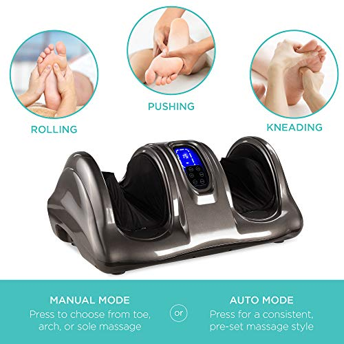Best Choice Products Therapeutic Shiatsu Foot Massager Kneading and Rolling for Foot, Ankle, Nerve Pain w/Handle, High Intensity Rollers, Remote Control, LCD Screen, 3 Massage Modes - Gray