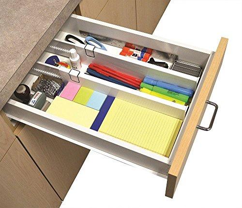 "BSTcentelha Adjustable Drawer Organizer Divider for Kitchen or Dresser S/2 Snap Fit"" Drawer Dividers- Pack of 2, Clear"