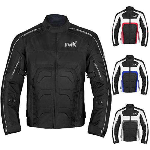 Textile Motorcycle Jacket Motorbike Jacket Breathable CE ARMORED WATERPROOF (XXX-Large, Black)