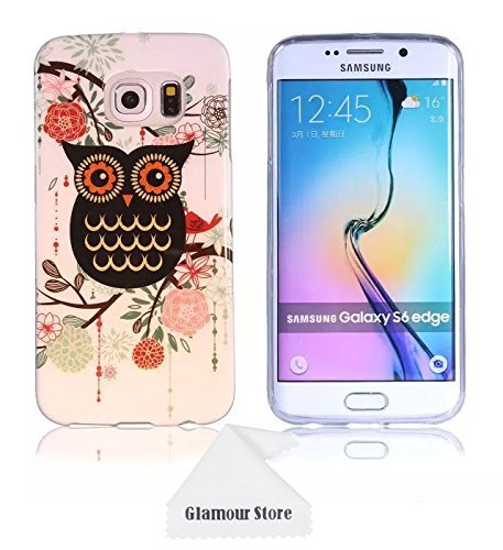 official photos 51ceb 262ce Samsung Galaxy S6 Edge Case,Owl Printed Design Rubber TPU Skin Gel Silicone  Soft Case Cover For Samsung Galaxy S6 Edge With a Free Cleaning Cloth As a  ...