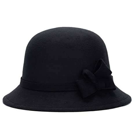 62209d3edd5 Buy Meiyiu Women Autumn Winter Retro Fedora Bowler Wool Hat Street  Cold-proof Basin Cap Black Online at Low Prices in India - Amazon.in