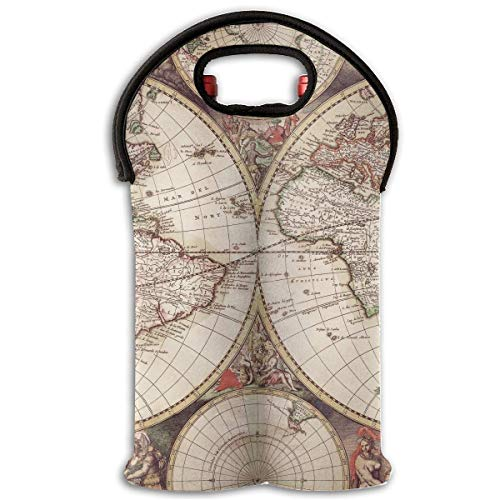 Old World Map Wallpaper 2 Bottle Wine Tote Carrier Bag Portable Insulated Polyester Beer Hand Bag for Travel,Picnic,Party