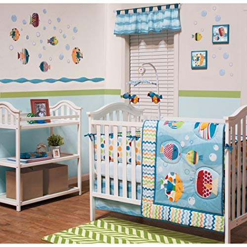 DS 5 Piece Baby Blue Yellow Red Bubble Fish Crib Bedding Set, Newborn Nautical Themed Nursery Bed Set Infant Child Water Ocean Sea Chevron Zigzag Polka Dots Pattern Tropical Blanket Quilt, Cotton