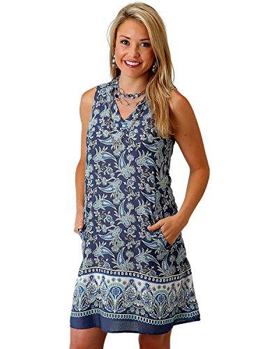 Roper Women's Blue Paisley Border Print Dress Blue Large