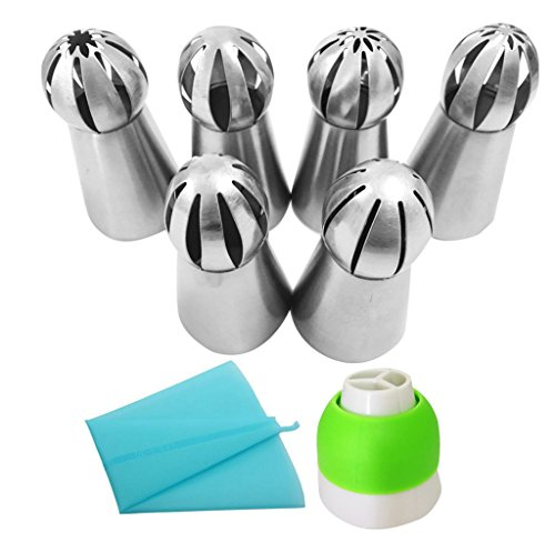 Russian Piping Tips Set- 6pcs Sphere Ball Tips + 1 Tri-color Coupler + 1 Reusable Pastry Bag - Large Size Baking Tool for Cake Cupcake Decoration