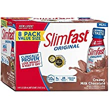 Slim Fast Original weight loss Meal Replacement RTD shakes, Creamy Milk Chocolate,8 Count