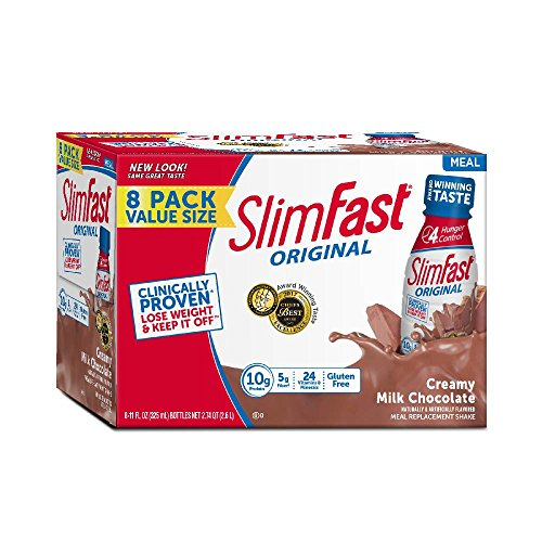 SlimFast Original - Weight Loss Meal Replacement RTD Shakes - With 10g Of Protein & 5g Of Fiber - Plus 24 Vitamins and Minerals per serving - Creamy Milk Chocolate, 8 Count (Best Weight Loss Shakes In Stores)