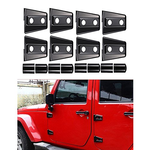 Bentolin Black ABS Door Hinge Cover for 2007-2017 Jeep Wrangler JK JKU 4Doors