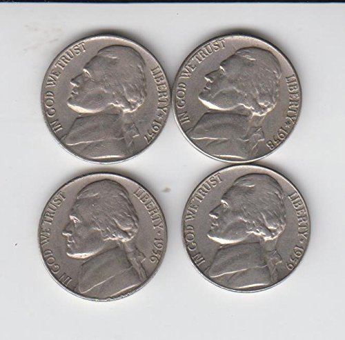 1956 , 1957, 1958, 1959 Jefferson Nickels (4) Coins Circulated Condition Very - Nickel Mintage Jefferson