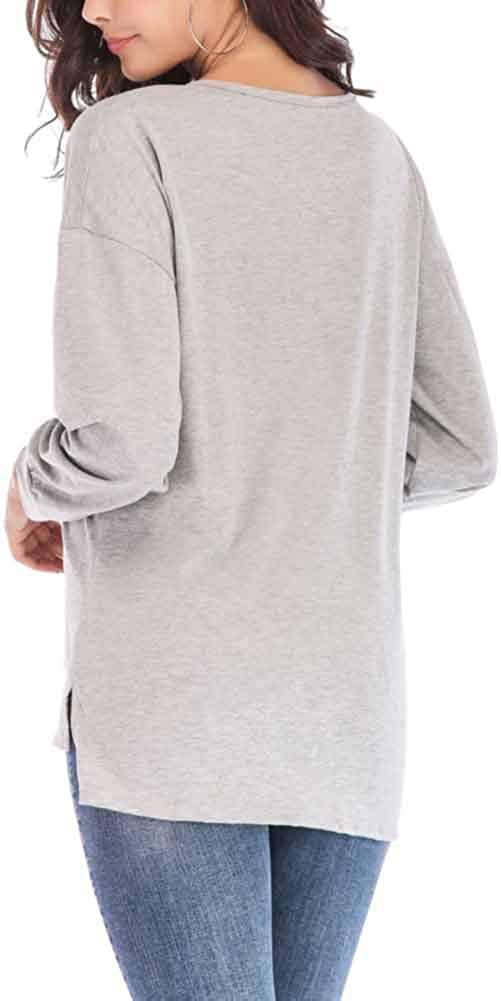 CHIYEEE Maglietta da Donna Elegante Casual Tops Maniche Lunghe Blusa con Il Tasto Pullover Camicetta Felpe Magliette da Donne S-XXL