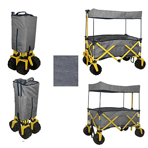 GREY COMPACT FOLDING WAGON ALL PURPOSE GARDEN UTILITY JUMBO BEACH WHEEL SHOPPING TRAVEL CART OUTDOOR SPORT COLLAPSIBLE WITH CANOPY COVER GRAY - EASY SETUP NO TOOL NECESSARY - SPACE SAVING