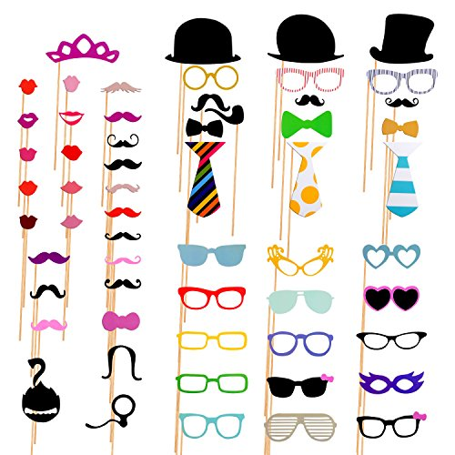 AniiKiss Colorful Photo Booth Props 58 Pieces DIY Mask Mustache Stick Props for Wedding Birthday Party -