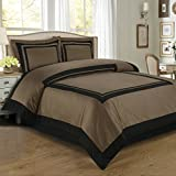 Hotel Taupe and Black 3pc King / Cal-King Duvet-Cover-Set 100 % Egyptian Cotton 300 TC