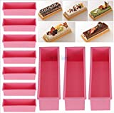 USA Premium Store 10PCS L Rectangle Brick Soap Toast Bread Loaf Cake Silicone Mold Bakeware 1.2L