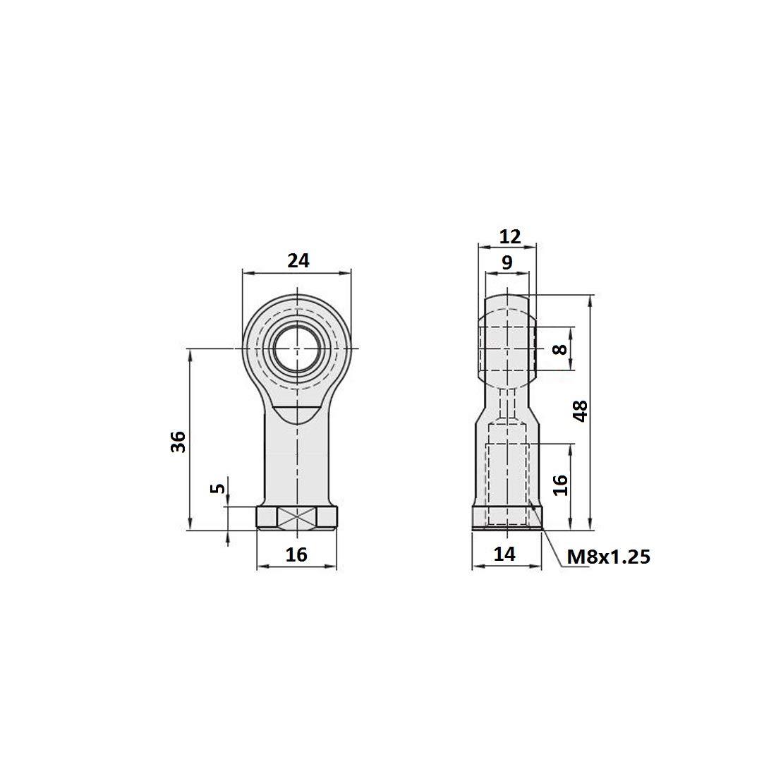 K 1 paquete Articulaciones R/ótula Rosca Mano Derecha Hembra SI5T sourcing map Rodamiento Extremo Barra