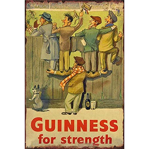 FlowerBeads Rustic Antique Tin Signs Vintage Metal Poster Plaque Painting, Football Match Retro Club Shop Pub Bar Decor - Guinness for Strength 20X30Cm -