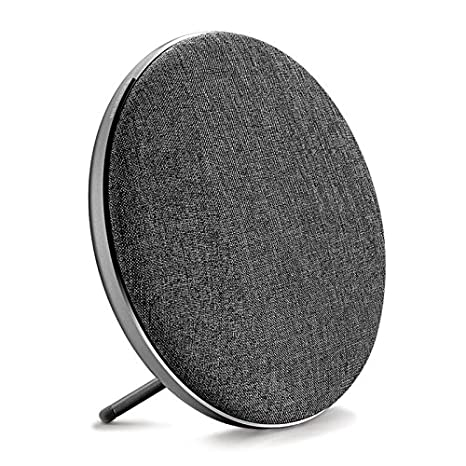 Jonter Fashion Bookshelf Bluetooth Speaker, Desktop Round Speaker With Fabric&Metal Surface, 10 W Subwoofer, Built In Mic Handsfree Phone Calling, Tf Card Slot & Aux Cable(Gray) by Jonter