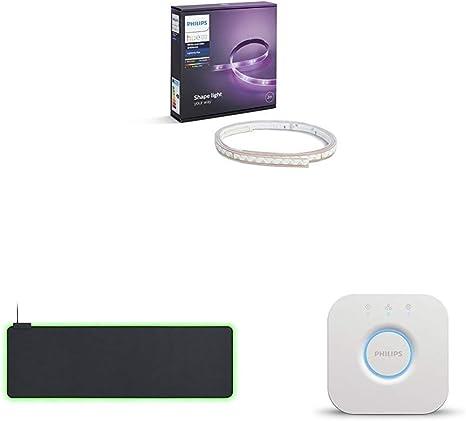 Philips Hue - Extended Chroma Suave Alfombrilla de Ratón + Lightstrip Plus, Tira LED de 2 Metros con Enchufe + Puente de conexión controlable vía WiFi: Amazon.es: Informática
