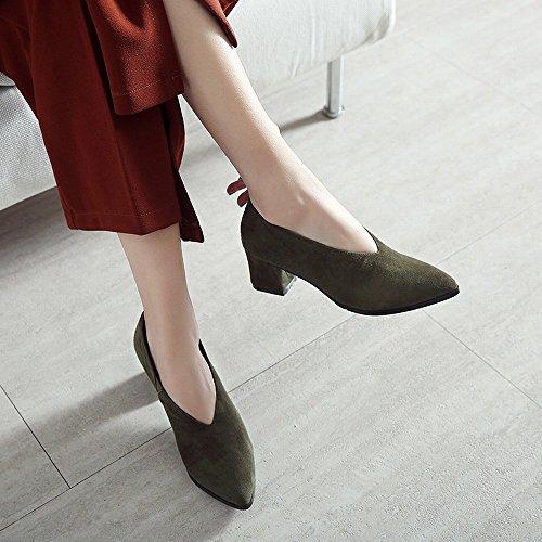 Chaussures 5cm en Début du Armée Ol Frotter Au Femmes Printemps verte Rugueux Chaussures avec Talons HH Cuir Printemps Hauts Chaussures avec Paresseuses zqRwT