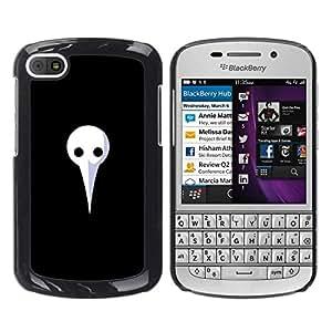 // PHONE CASE GIFT // Duro Estuche protector PC Cáscara Plástico Carcasa Funda Hard Protective Case for BlackBerry Q10 / Largo Máscara Blanca /