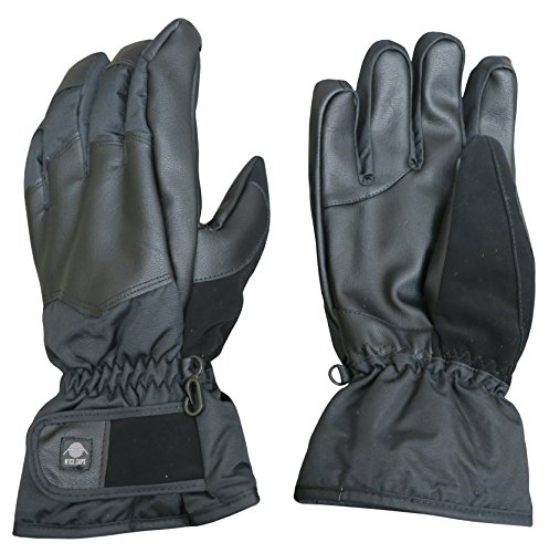 N'Ice Caps Men's Thinsulate Waterproof Faux Leather Reinforced Winter Snow Gloves (XX-Large, Black)