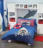 Home Bedding Fancy&Cool Kids Collection Shark Attack Reversible Luxury Comforter Set 100% Guarantee (full / queen)