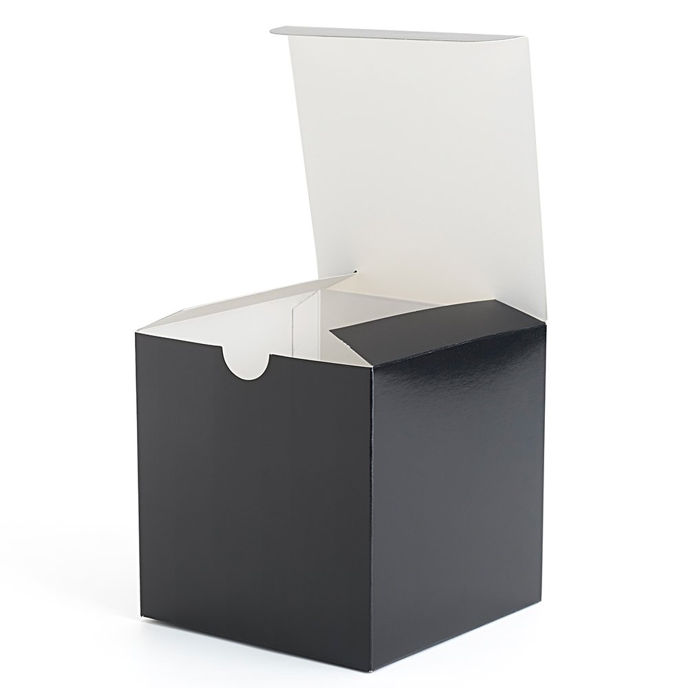 MESHA Gift Boxes 4 x 4 x 4 Inches, 50 Pack Black Paper Boxes with Lids for Gifts, Crafting, Cupcake Packaging Boxes MS-16