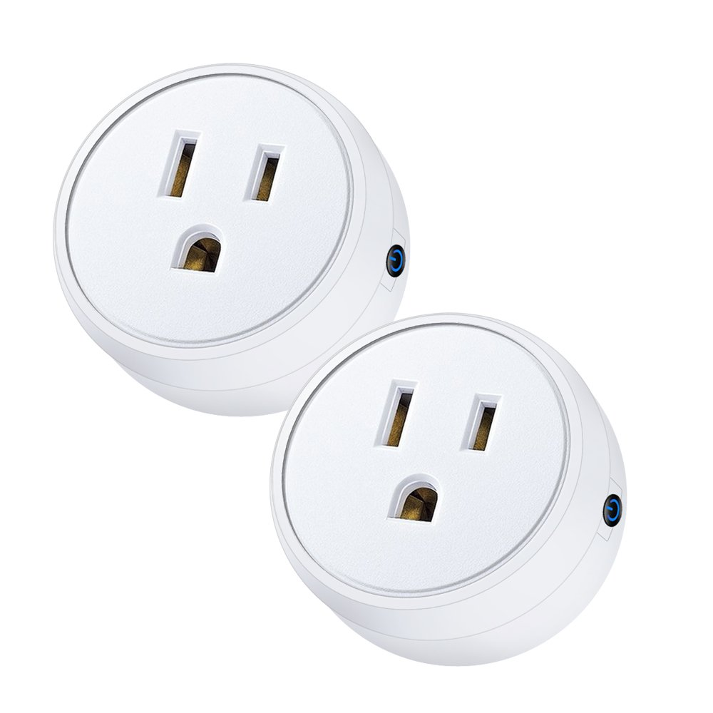 ALOFOX Wifi Smart Plug Alexa, 2 Packs Mini Smart Outlet Compatible with Amazon Alexa & Google Home, Remote Control by Smart Phone with Timing Function from Anywhere, ETL& FCC certification