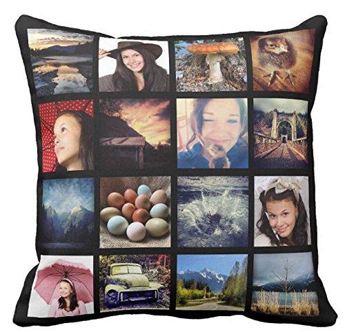 Create your Own Custom 16 Instagram Photo Collage Throw Throw Pillow Case Sofa or Car Cushion Collage Pillow