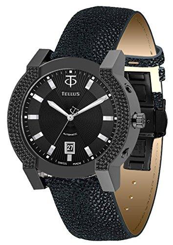 Galuchat Watch Strap - TELLUS Discoverer 46 Men's Diamond Watch, Galuchat Strap, Swiss Made - T1065-S222EFC221
