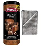 Weiman Leather Cleaning Kit Leather Wipes (30 Count) Microfiber Cloth - Clean and Condition Car Seats & Interior, Shoes, Couches and Other Leather Surfaces