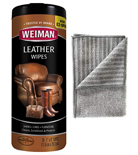 Weiman Leather Cleaning Kit Leather Wipes (30 Count) Microfiber Cloth - Clean and Condition Car Seats and Interior, Shoes, Couches and Other Leather -