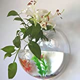 29.5cm Wall Mounted Acrylic Fish Tank, Plant Wall Hanging Fish Bowl, Home Decoration Pot Wall Hanging Mount Bubble Aquarium Bowl Fish Tank (Diameter 29.5cm)