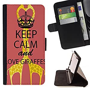 King Air - Premium PU Leather Wallet Case with Card Slots, Cash Compartment and Detachable Wrist Strap FOR LG Google Nexus 5 E980 D820 D821- Keep calam and Love Giraffe